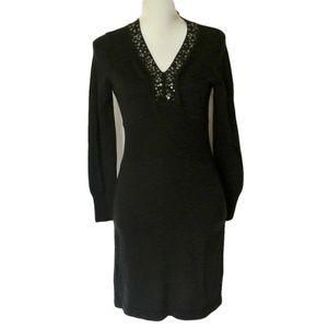 NY Collection Sweater Dress NWT embellished V Neck